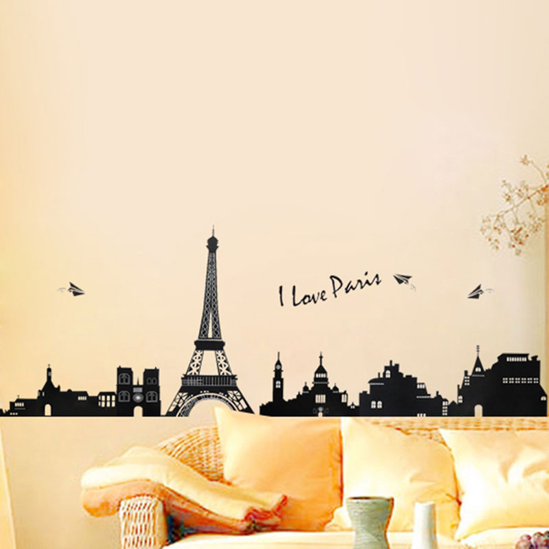 Home Bedroom Decoration Wall Sticker Retro Paris Eiffel Tower Art Magic Castle Poster Stickers Wall Art