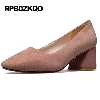 Chunky Square Toe Medium Prom Size 4 34 Pink Suede Ladies Formal Shoes Work Pumps High Heels 2017 China Autumn New Fashion