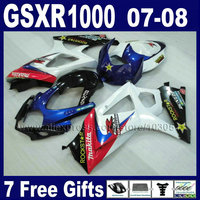 Factory motorcycle fairings kit for SUZUKI GSXR 1000 2007 GSXR 1000 2008 GSXR1000 K7 K8 07 08 whtte red blue bodywork fairing pa