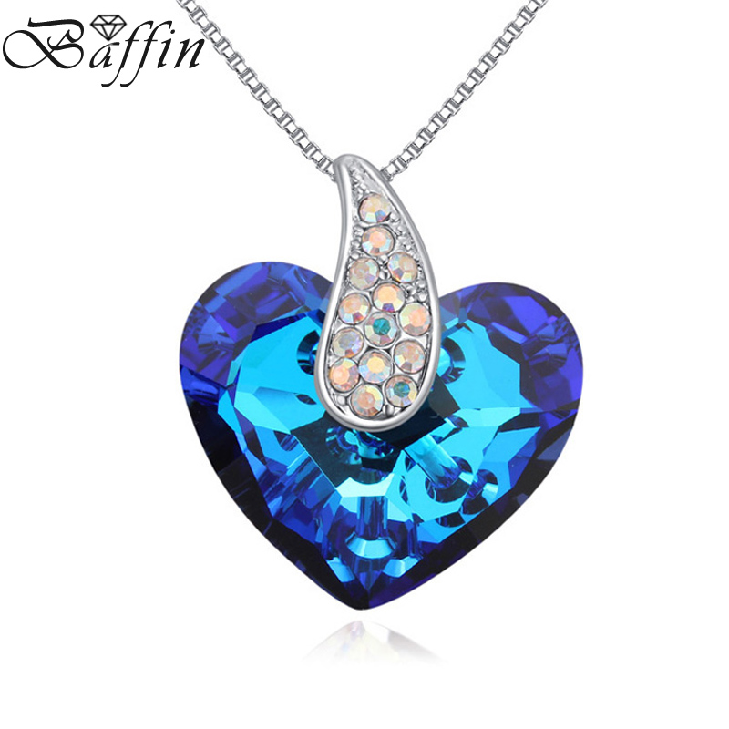 Romantic Truly in Love Heart Necklaces&Pendants Blue Crystal From Swarovski For Women Jewelry Valentine's D Gift