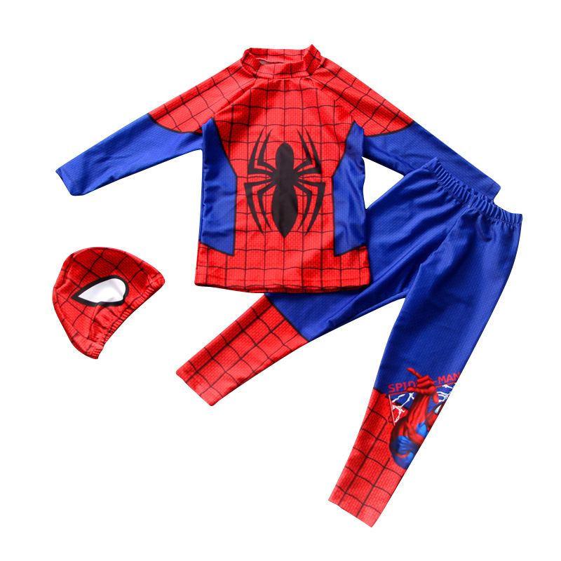 Full Body Swimsuit Boys Long Sleeve 3pcs Spiderman Swimwear With Swimming Cap High Neck UPF 50+ Prodective Quick-Dry Swim Suit