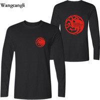 Game Of Thrones Targaryen Of Fire And Blood With Long Sleeve Men T Shirt 2017 New