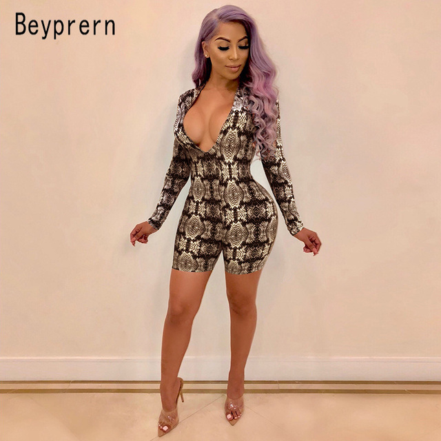 a7b5a39a544 Beyprern Stretchy Snake Print Romper Womens Autumn Sexy Deep V Neck Bodycon  Short Jumpsuit Overalls Night