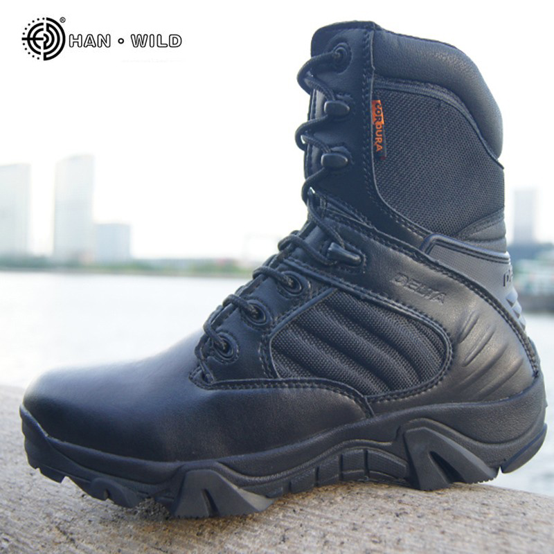 Winter Military Army Tactical Boots For Men Cow Leather Waterproof Round Toe Work Shoes Combat Desert Ankle Boot Mens