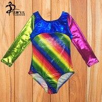 B20 Rainbow Girls Gymnastics Leotards Little Girls Gymnastics Ballet Leotard Rainbow Stripe Athletic Dancewear 2 13Y