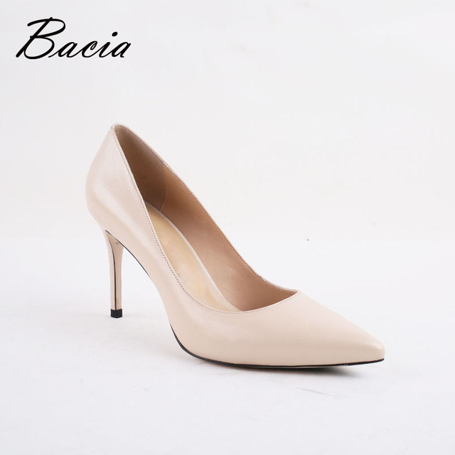 Bacia Women High Heel Shoes Basic Model Pumps Lady Sexy Pointed Toe Wedding Shoes Pink Red Pumps Handmade Sheepskin Shoes VB034 1