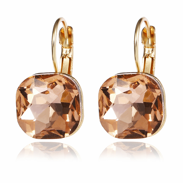E0257 Fashion Gold Color Square Stud Earrings Pink Red Green Black Austrian Crystal Rhinestone Earring For Women Wedding Jewelry