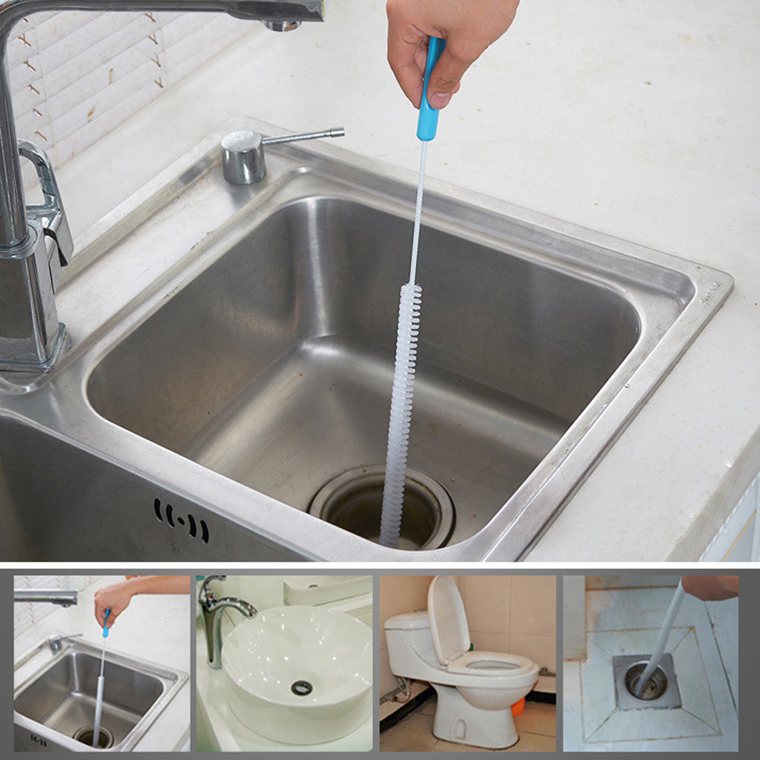 Sewer Cleaning Brush Home Bendable Sink Tub Toilet Dredge