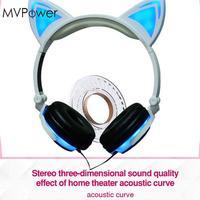 Folding Over Ear Wired Headset LED Luminous Glowing Cat Ear Music Headphones Handsfree Earphone For Mobile