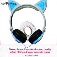 Folding Over Ear Wired Headset LED Luminous Glowing Cat Ear Music Headphones Handsfree Earphone For Mobile