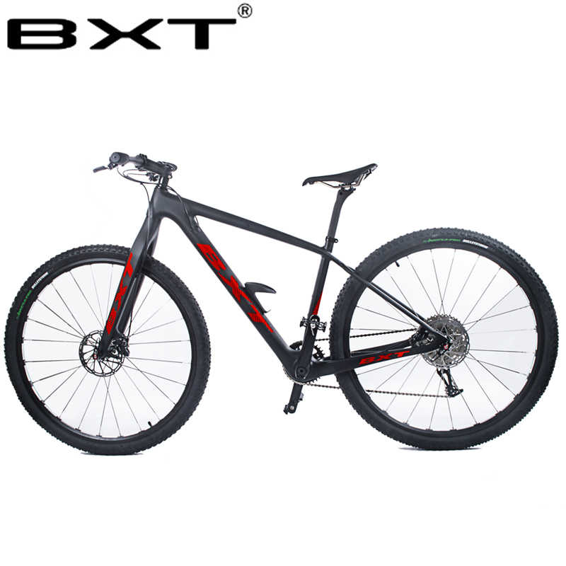 """BXT 29 дюймов углеродное волокно горный велосипед 1*11 скоростной двойной дисковый тормоз 29 """"MTB Мужской Велосипед 29er колеса S/M/L рама полный велосипед"""