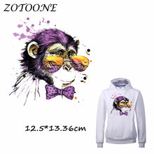 ZOTOONE Patches for Clothing Glasses Monkey Heat Transfer DIY Accessory Decoration Iron on Patch Beaded Applique Clothes Tshirt цена