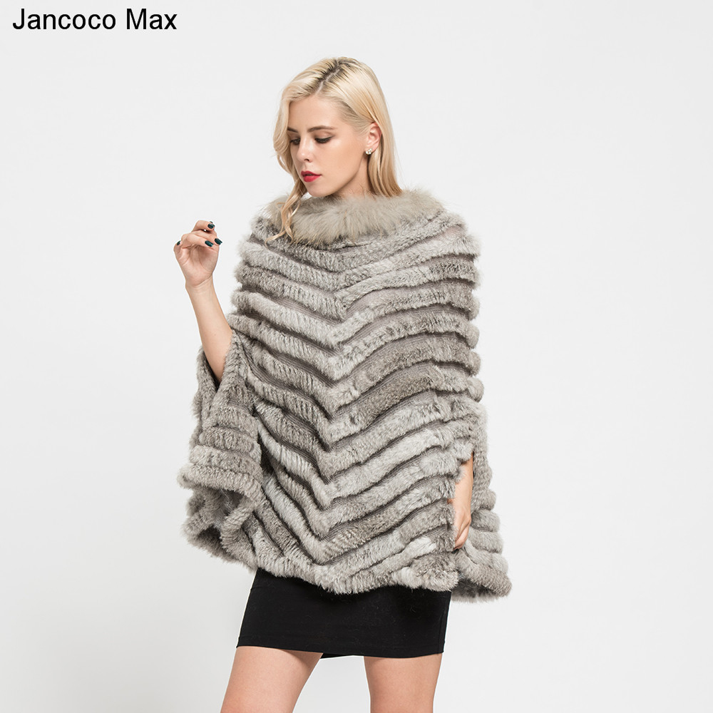 Jancoco Max 2019 New Real Rabbit Knitted Fur Poncho Winter Fashion Style Capes Female Party Shawl