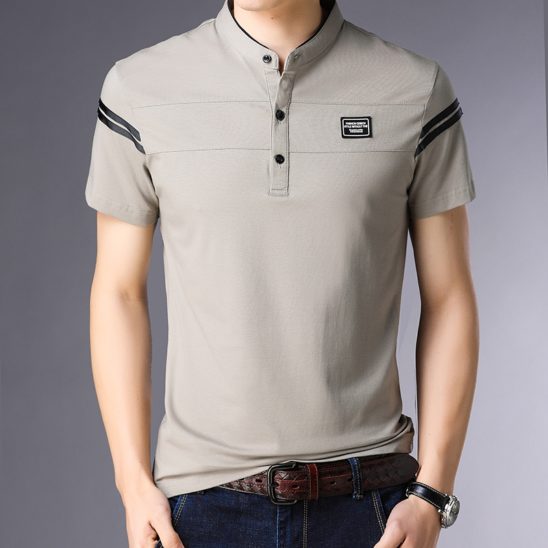 2019 New Fashion Brands Designer   Polo   Shirt Men Mandarin Collar Summer Short Sleeve Slim Fit Striped   Polos   Casual Men Clothes