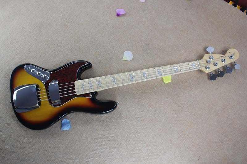 Бесплатная доставка Одежда высшего качества кленовым грифом 5 струн из F левша Sunset burst джазовая бас-гитара 15-9