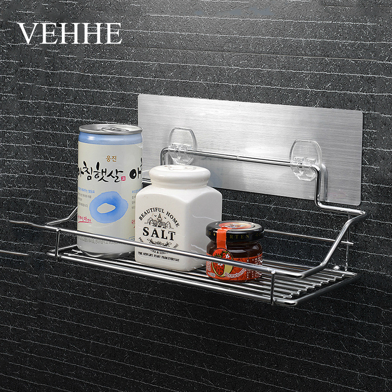 VEHHE Kitchen Bathroom Shelf Stainless Steel Shower Suction Cosmetic Storage Holder Wall Mounted Trackless Bathroom Shelves бур sds plus bosch 6 5x200x265мм 10шт 2 608 585 621