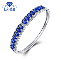 LANMI Real 18Kt Au750 White Gold Natural Blue Sapphire Bangle Good Quality Gemstone Bling Diamond Jewelry for Women Wedding