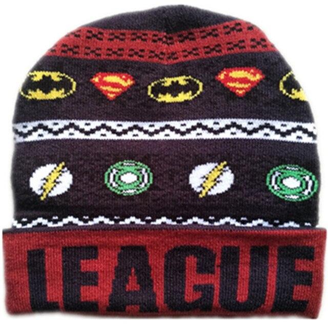 3241a841dd5 Cartoon Anime Justice Hero Hat Knitting Cotton Beanies Cap Plush Winter  Warm Spider man Green Light Flash man bat Kid Adult hats
