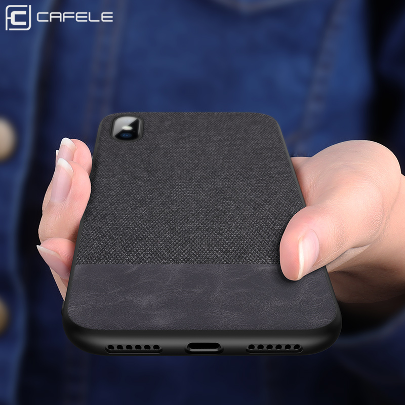 Cafele Case for iPhone X 8 7 6 Case Cover Fabric Silicone Edge for iPhone X Cover Shockproof Business for iPhone X 8 7 6 Case