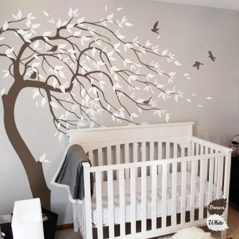 White Tree Wall Decals for Nursery