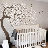 2016 HOT Huge White Tree Wall Decal Sticker Wall Decals Nursery Tree Wall Stickers For Kids Rooms Wall Tattoo Gift