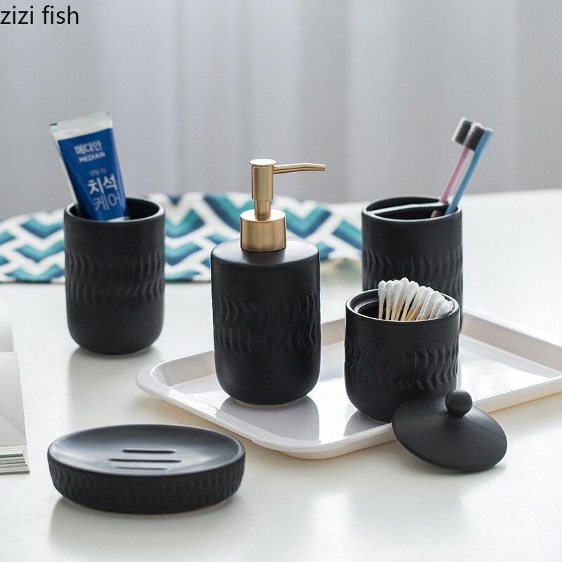 Creative Nordic style Five piece bathroom set Simple ceramics Bathroom wash set Bathroom supplies Home Decorations