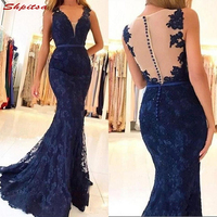 Navy Blue Mother of the Bride Dresses for Weddings Mermaid Lace Evening Gowns Groom Godmother Dresses