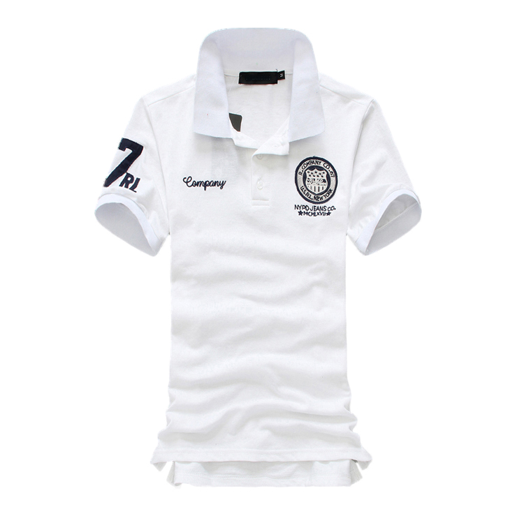 MYAZHOU 2018 Summer Men's Casual Short-sleeved   POLO   , Comfortable Breathable Fashion Badge Men's   POLO   Shirts white XS-5XL