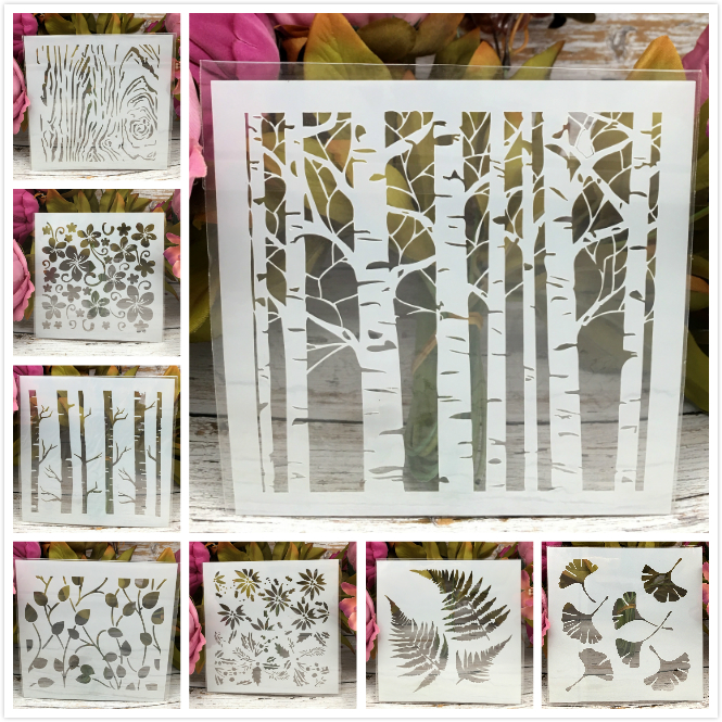 8Pcs 5inch Tree Leaf Ginkgo Wooden Bud DIY Layering Stencils Painting Scrapbook Coloring Embossing Album Decorative Template