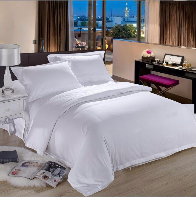 100% Cotton Hotel Pure White Bedding Set Luxury 4pcs Tribute Silk Duvet  Cover King Queen Bed Sheet Pillowcases Home Textile