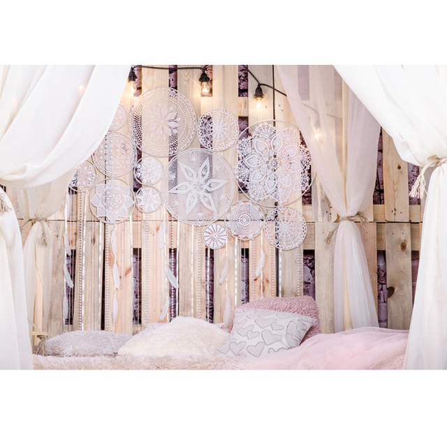Laeacco Boudoir Bed Wooden Board Pillow Curtain Pendant Photography Background Customized Photographic Backdrop For Photo Studio