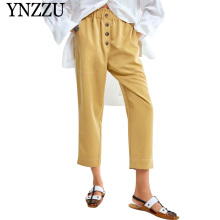 YNZZU 2019 Autumn new fashion soild botton casual women pants High waist elastic wasit good quality Loose harem trousers YB333