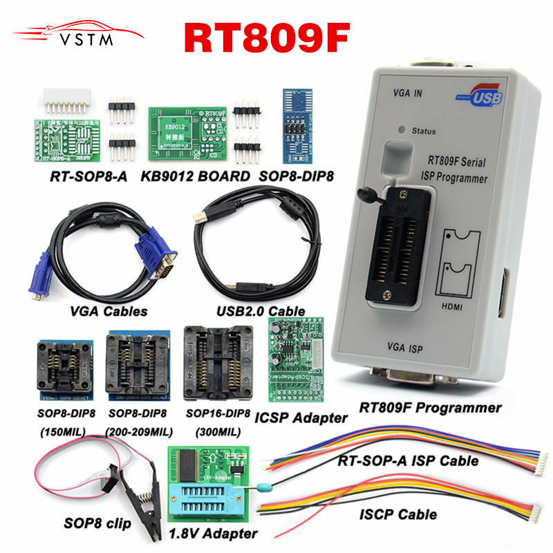 2020 Newest RT809F ISP Programmer  RT809 lcd usb programmer Repair Tools 24-25-93 serise IC with 11 adapters