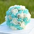 Azul romántico ramo de la boda artificial con perlas nupcial ramo de flores de mano de mariage buque de noiva flores baratas de la boda
