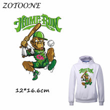 ZOTOONE Iron on Stickers Patches for Clothes Baseball Monkey Patch HOME RUN DIY Accessory Heat Transfer Appliques