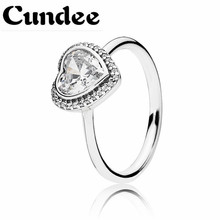 925 Sterling Silver Big Crystal Heart Rings For Women Brand Anillos Mujer Bridal Wedding Ring Engagement Jewelry Gift