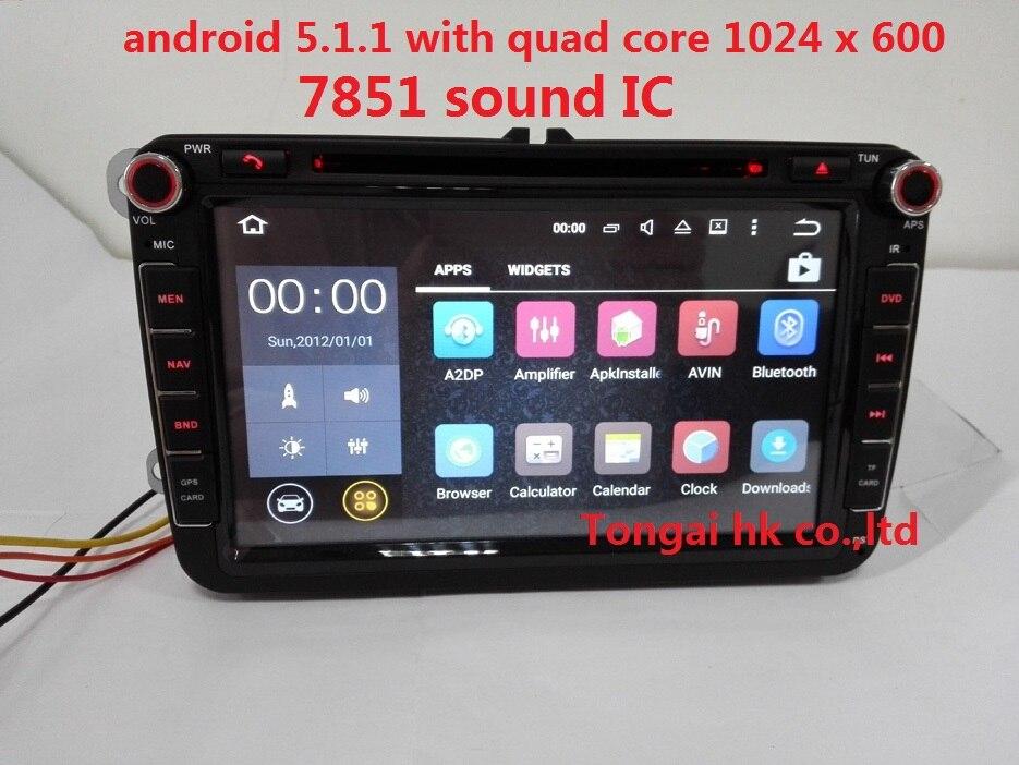 Prix pour 8 pouce 2 din Android 5.1.1 pour VW B6, tiguan, golf jetta voiture dvd, gps de navigation 3G, Wifi, BT, rds, canbus, 7851, quad core, 1024x600,