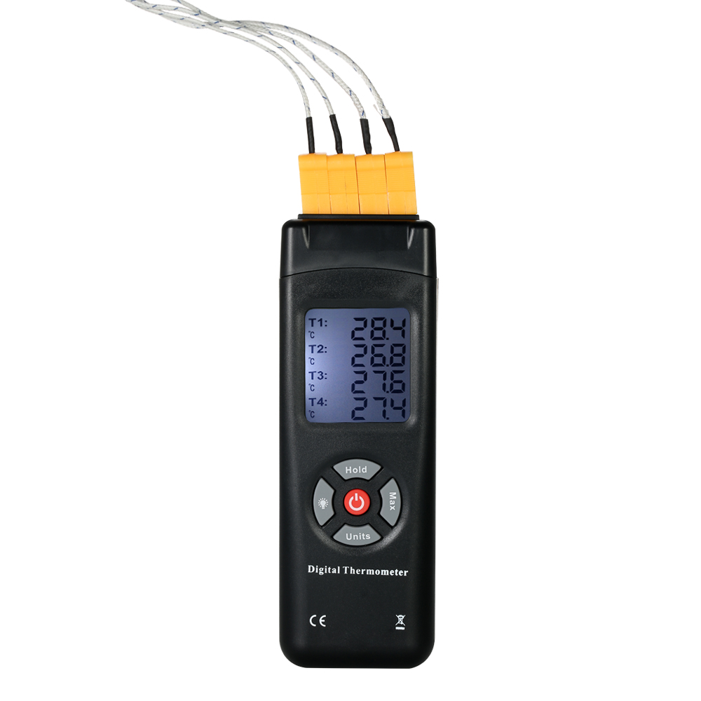 Mini Numérique Thermomètre 4-Channel K-Type thermostat Thermocouple Capteur de température thermoregulator-50-1350C Data Hold Fonction