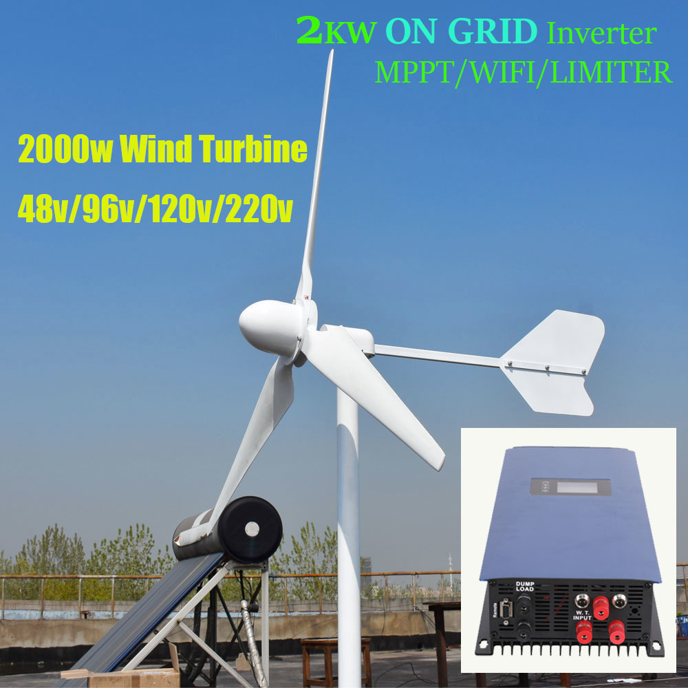 FLTXNY 2kw Horizontal Wind Turbine Generator 48v 96v 120v 230v With 2000w Grid Tie MPPT Inverter Bult in WIFI/Limiter