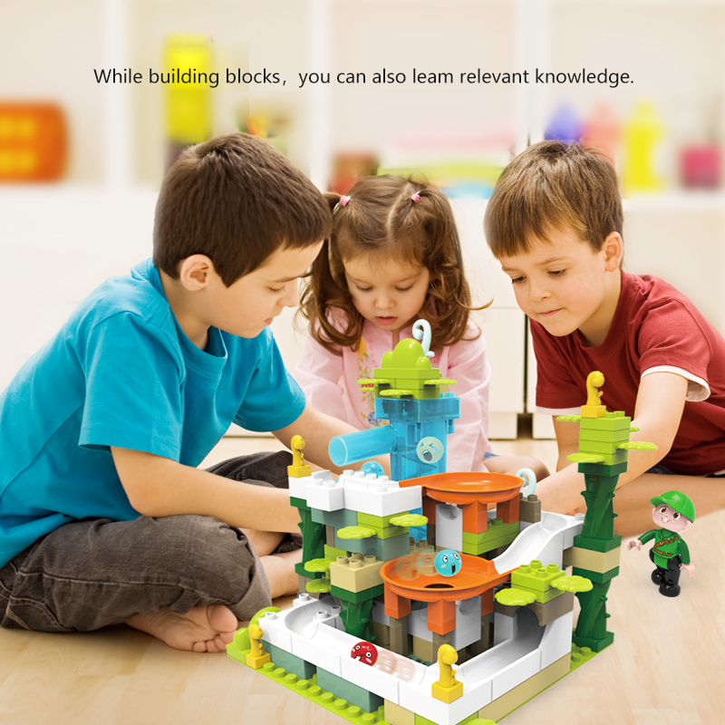 105 pièces marbre course course labyrinthe balles piste blocs de construction Jungle aventure piste brique Compatible Duploed jouets pour enfants