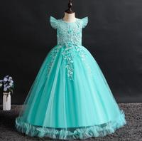 The New 2019 Beautiful Long Princess Dress for Teen Girls Girls Dresses Blue Rose Lace for Kids Wedding Party Dresses For Girls