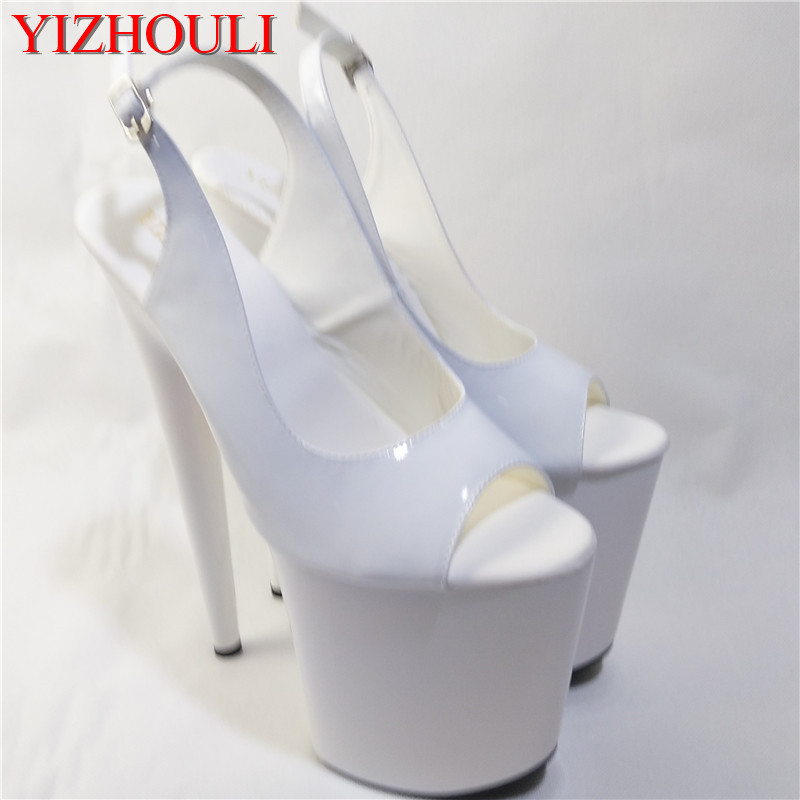 8 inch high heel peep open toe shoes platform fashion women dress sexy heels pumps sexy 20cm white wedding sandals