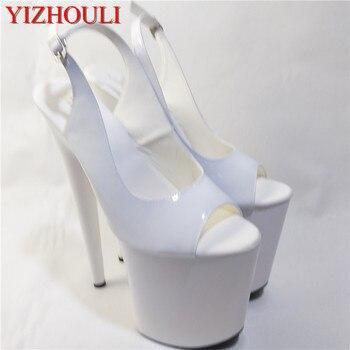 8 inch high heel peep open toe shoes platform fashion women dress sexy heels pumps sexy 20cm white wedding sandals