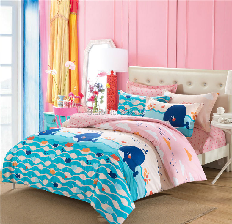 Pink and blue whale ocean theme sea fish bedding girls for Fish bedding twin