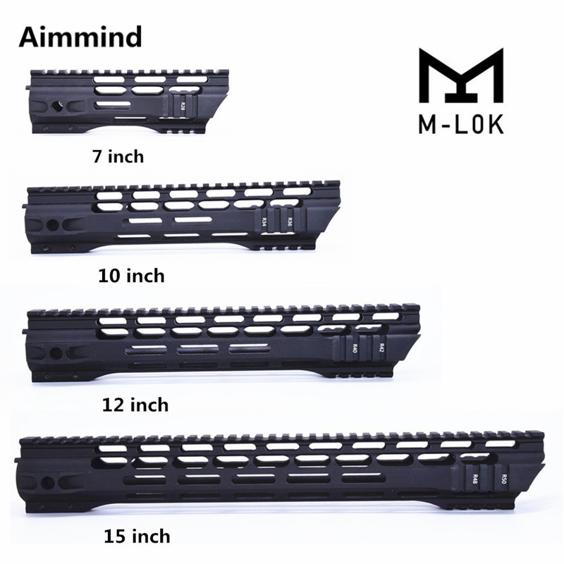 "7"" 10"" 12"" 15"" inch MLOK mlok Handguard Free Float Super Slim ar 15 Handguard Quad Rail for M4 M16 with Aluminum Barrel Nut(China)"