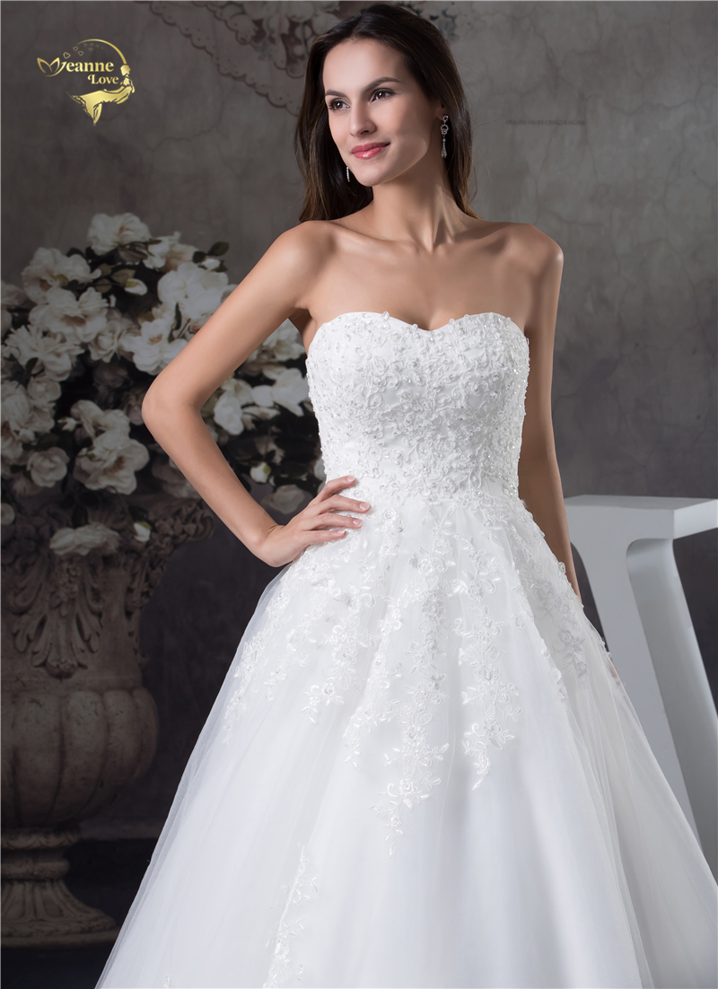 Jeanne Love Soft Tulle Sweetheart Wedding Dresses Perfect 2018 New Applique Lace Bridal Gown A Line Robe De Mariage JLOV75951 6