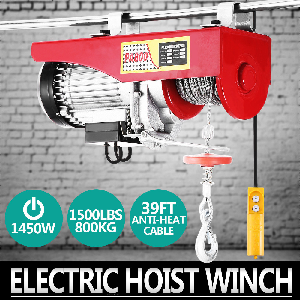 New 1500lbs Mini Electric Hoist Crane Overhead Garage Winch Remote Control Auto Lift