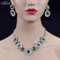 סט תכשיטי חתונה יהלומים מלאכותיים נוצצים CHRAN קלאסי מצופה כסף עבור השושבינות קסם ירוק קריסטל שרשראות עגילי סט