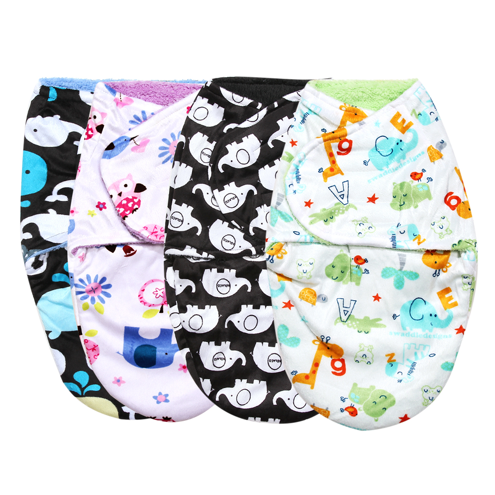 Super Soft Baby Sleeping Bag Clothes Double Layer Short Plush Baby Blankets Swaddle Wrap Winter Newborns Envelope Quilt Blanket