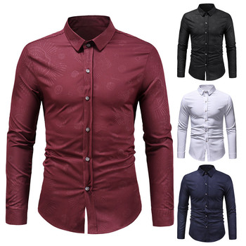 Men's Autumn Winter Fashion Skulls Floral Print Long Sleeve Shirt